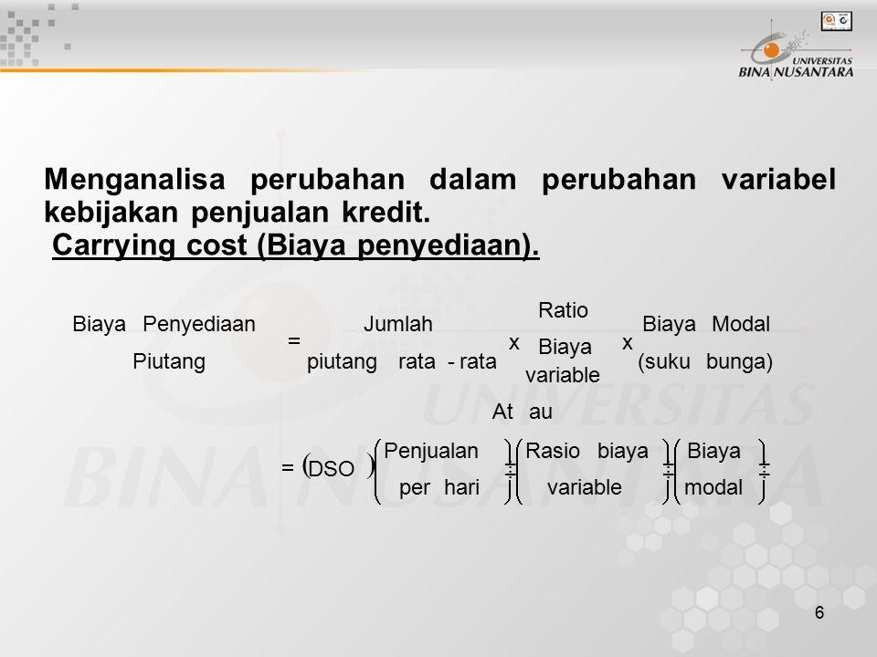 6 Menganalisa perubahan dalam perubahan variabel kebijakan penjualan kredit. Carrying cost (Biaya penyediaan).                   