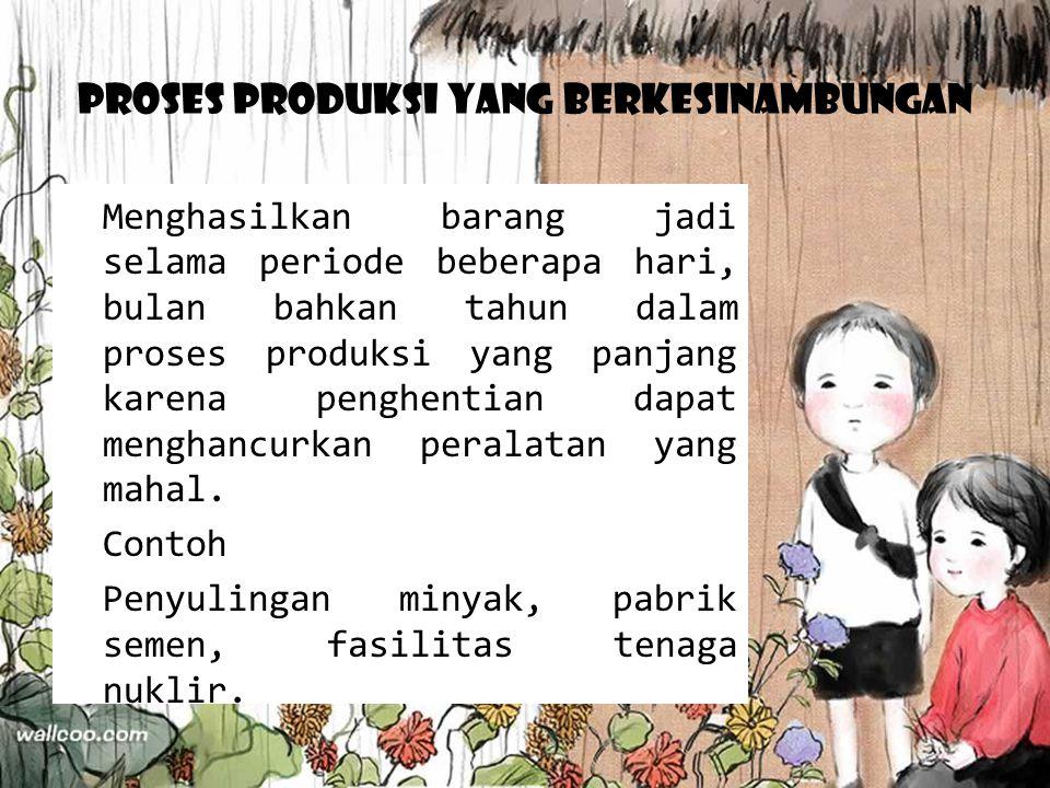 Proses Produksi yang Berkesinambungan Menghasilkan barang jadi selama periode beberapa hari, bulan bahkan tahun dalam proses produksi yang panjang kar
