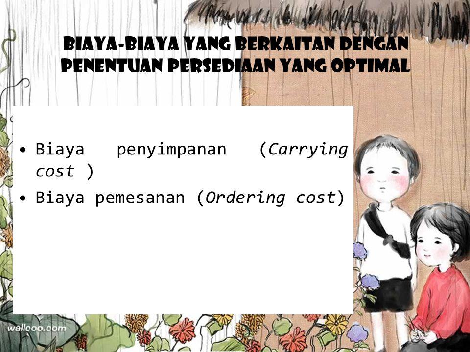 Biaya-Biaya Yang Berkaitan Dengan Penentuan Persediaan Yang Optimal Biaya penyimpanan (Carrying cost ) Biaya pemesanan (Ordering cost)