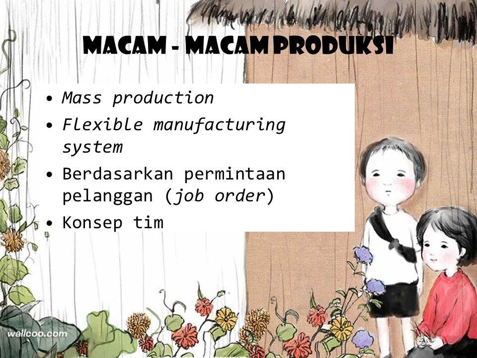 Macam - macam produksi Mass production Flexible manufacturing system Berdasarkan permintaan pelanggan (job order) Konsep tim
