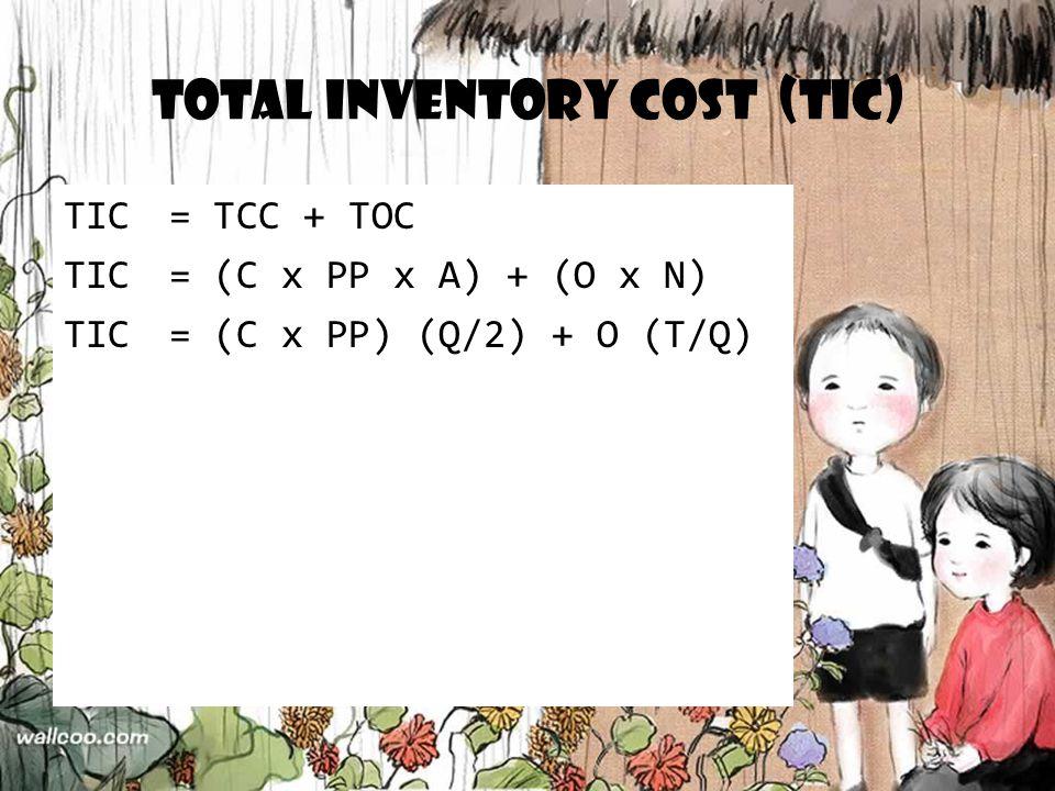 Total Inventory Cost (TIC) TIC= TCC + TOC TIC= (C x PP x A) + (O x N) TIC= (C x PP) (Q/2) + O (T/Q)
