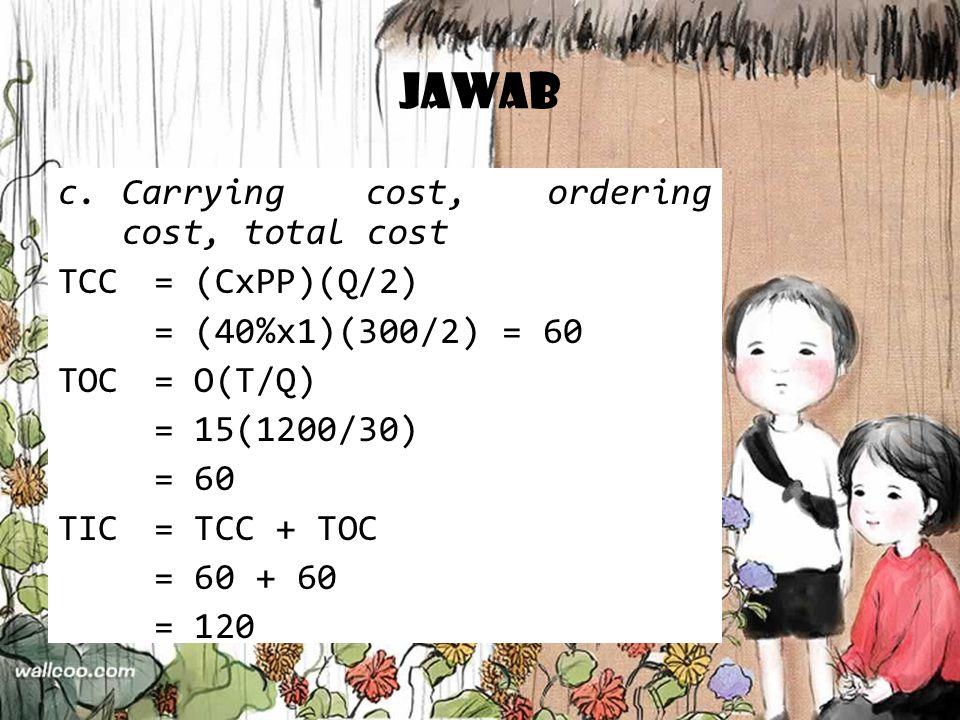 Jawab c.Carrying cost, ordering cost, total cost TCC= (CxPP)(Q/2) = (40%x1)(300/2) = 60 TOC= O(T/Q) = 15(1200/30) = 60 TIC= TCC + TOC = 60 + 60 = 120