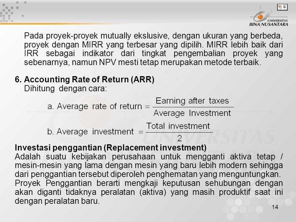 14 Pada proyek-proyek mutually ekslusive, dengan ukuran yang berbeda, proyek dengan MIRR yang terbesar yang dipilih. MIRR lebih baik dari IRR sebagai