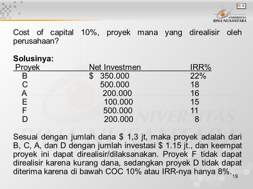 19 Cost of capital 10%, proyek mana yang direalisir oleh perusahaan? Solusinya: ProyekNet Investmen IRR% B $ 350.000 22% C 500.000 18 A 200.000 16 E 1