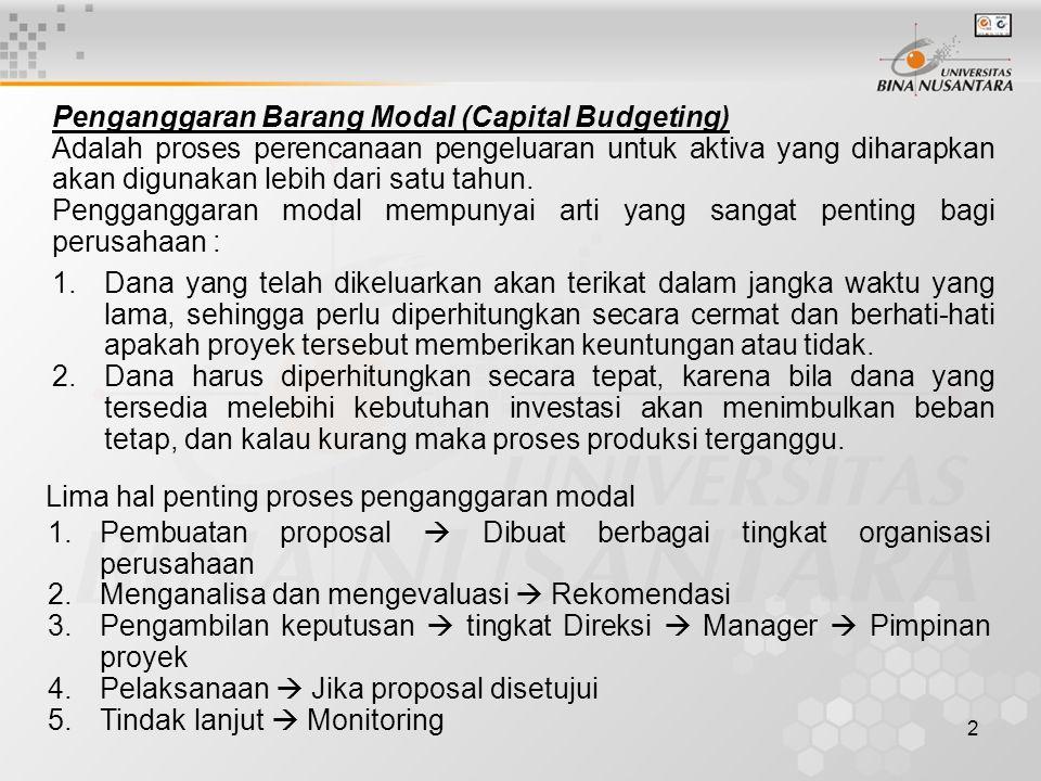 2 Penganggaran Barang Modal (Capital Budgeting) Adalah proses perencanaan pengeluaran untuk aktiva yang diharapkan akan digunakan lebih dari satu tahu