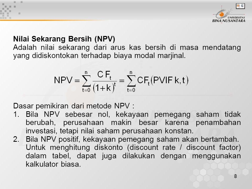 8 Nilai Sekarang Bersih (NPV) Adalah nilai sekarang dari arus kas bersih di masa mendatang yang didiskontokan terhadap biaya modal marjinal. Dasar pem
