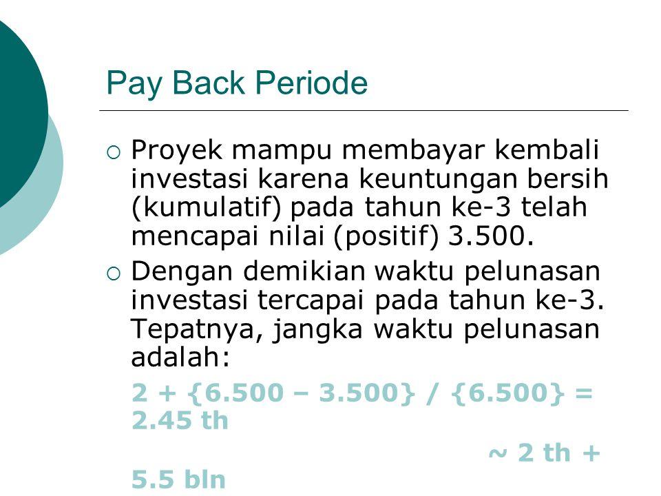 Pay Back Periode  Proyek mampu membayar kembali investasi karena keuntungan bersih (kumulatif) pada tahun ke-3 telah mencapai nilai (positif) 3.500.