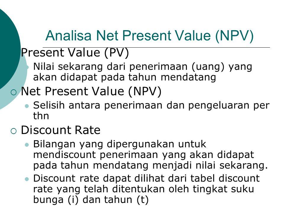 Analisa Net Present Value (NPV)  Present Value (PV) Nilai sekarang dari penerimaan (uang) yang akan didapat pada tahun mendatang  Net Present Value