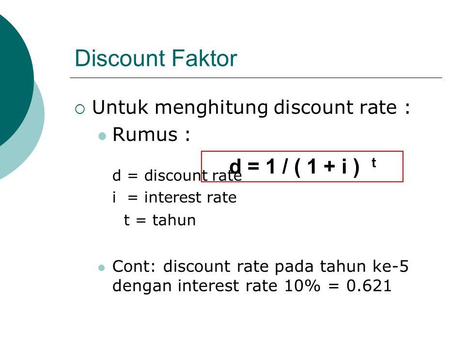 Discount Faktor  Untuk menghitung discount rate : Rumus : d = discount rate i = interest rate t = tahun Cont: discount rate pada tahun ke-5 dengan in