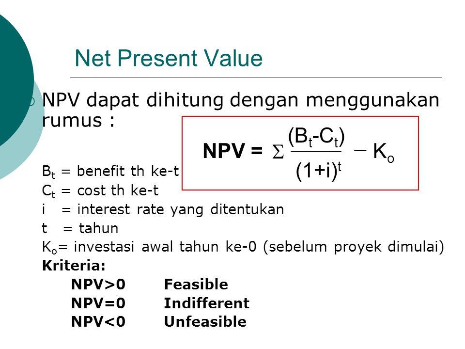 Net Present Value  NPV dapat dihitung dengan menggunakan rumus : B t = benefit th ke-t C t = cost th ke-t i = interest rate yang ditentukan t = tahun