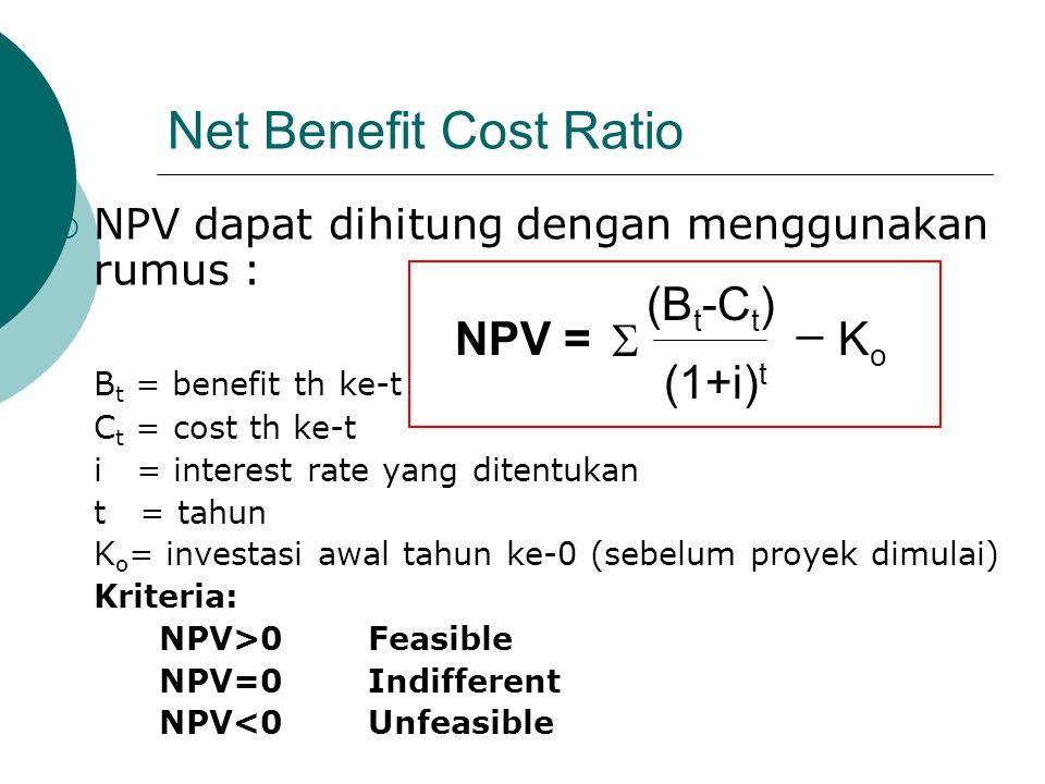 Net Benefit Cost Ratio  NPV dapat dihitung dengan menggunakan rumus : B t = benefit th ke-t C t = cost th ke-t i = interest rate yang ditentukan t =
