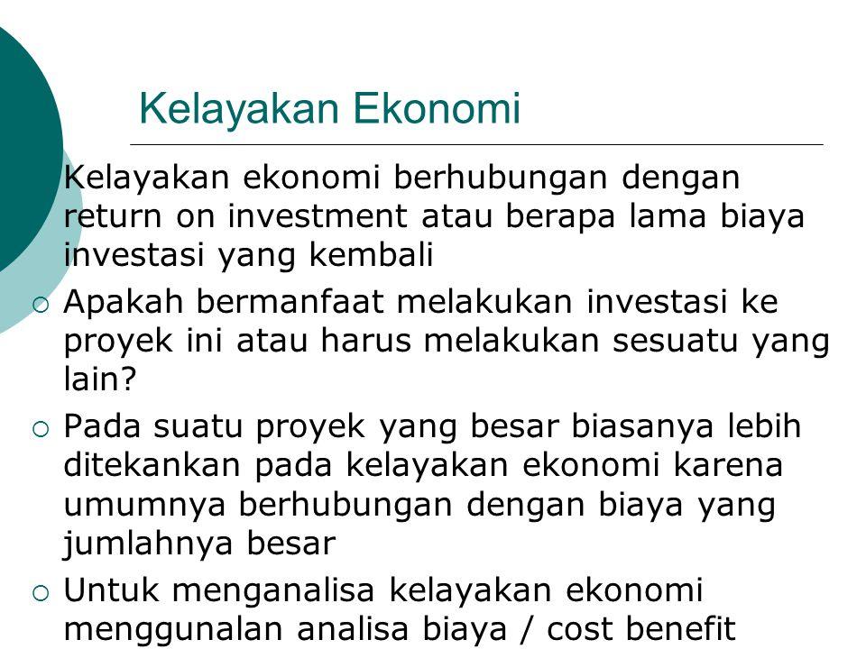 Kelayakan Ekonomi  Kelayakan ekonomi berhubungan dengan return on investment atau berapa lama biaya investasi yang kembali  Apakah bermanfaat melaku