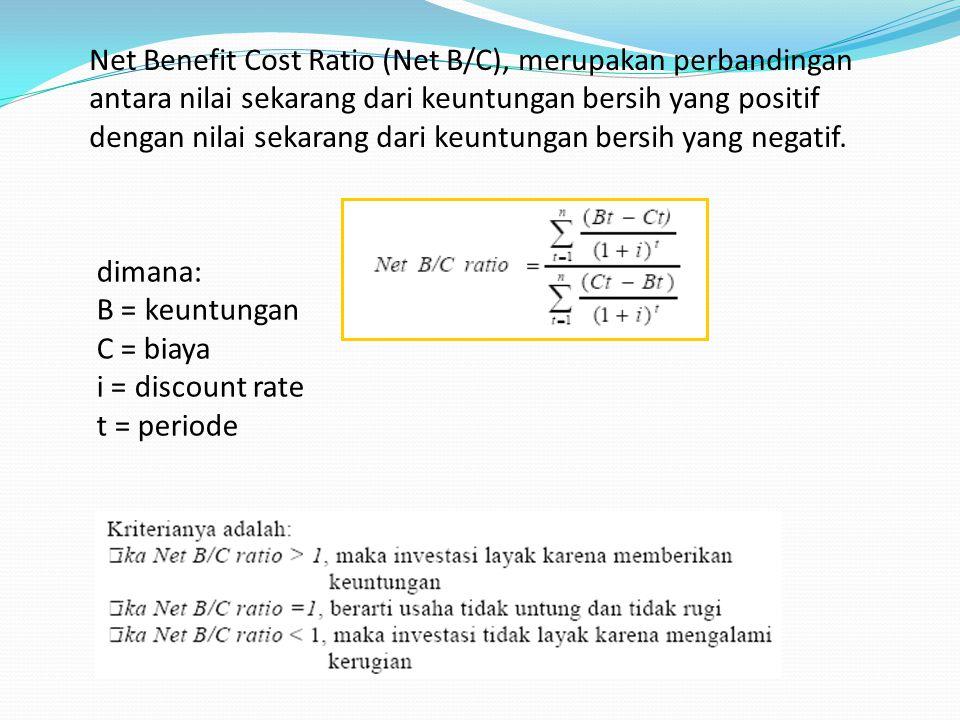 Net Benefit Cost Ratio (Net B/C), merupakan perbandingan antara nilai sekarang dari keuntungan bersih yang positif dengan nilai sekarang dari keuntung