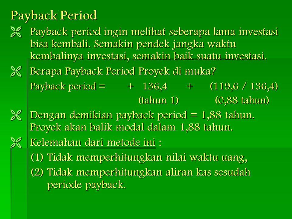 Payback Period  Payback period ingin melihat seberapa lama investasi bisa kembali. Semakin pendek jangka waktu kembalinya investasi, semakin baik sua