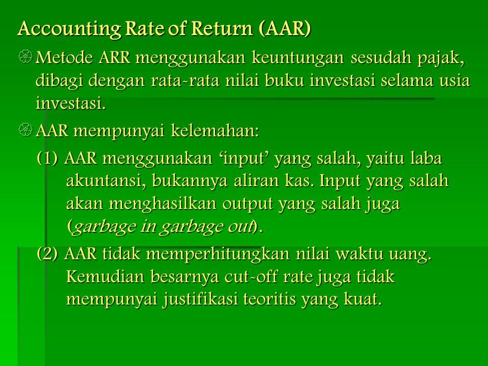 Accounting Rate of Return (AAR)  Metode ARR menggunakan keuntungan sesudah pajak, dibagi dengan rata-rata nilai buku investasi selama usia investasi.