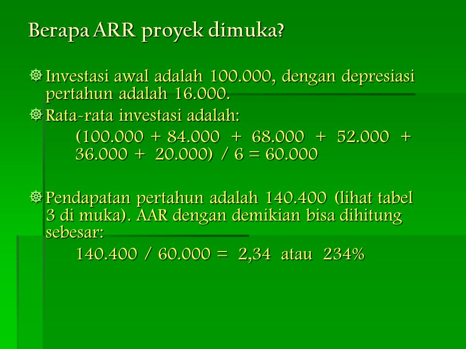 Berapa ARR proyek dimuka?  Investasi awal adalah 100.000, dengan depresiasi pertahun adalah 16.000.  Rata-rata investasi adalah: (100.000 + 84.000 +