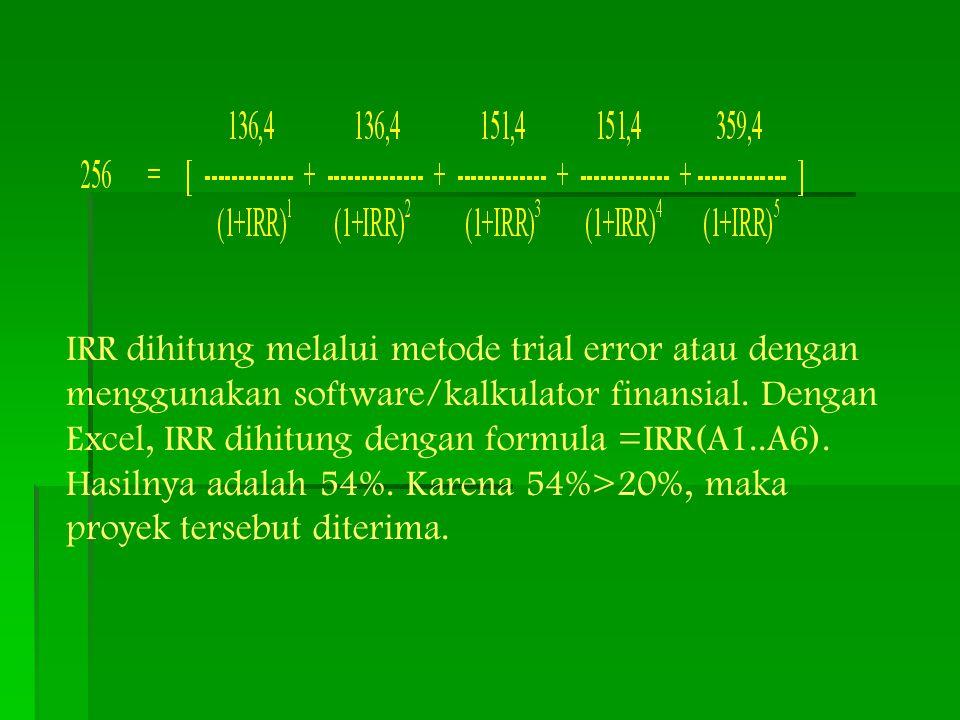 IRR dihitung melalui metode trial error atau dengan menggunakan software/kalkulator finansial. Dengan Excel, IRR dihitung dengan formula =IRR(A1..A6).