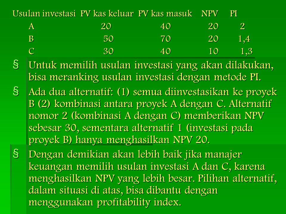 Usulan investasi PV kas keluar PV kas masuk NPV PI A 20 40 20 2 B 50 70 20 1,4 C 30 40 10 1,3 § Untuk memilih usulan investasi yang akan dilakukan, bi