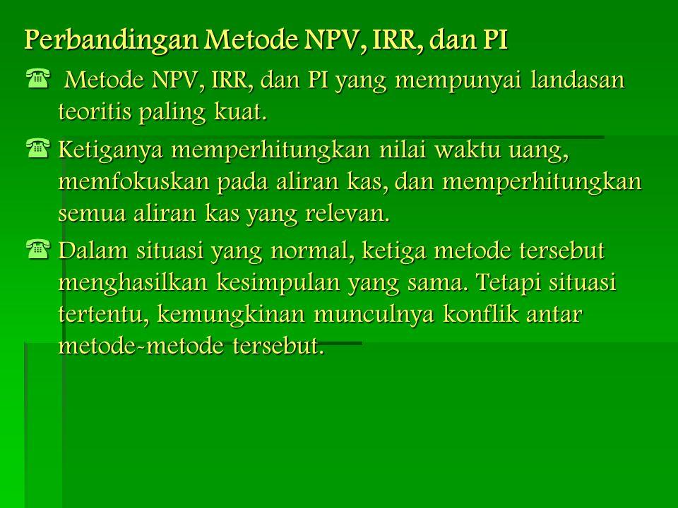 Perbandingan Metode NPV, IRR, dan PI  Metode NPV, IRR, dan PI yang mempunyai landasan teoritis paling kuat.  Ketiganya memperhitungkan nilai waktu u
