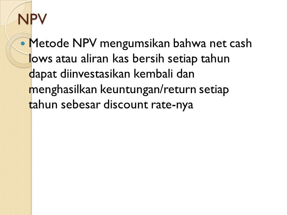 NPV Metode NPV mengumsikan bahwa net cash lows atau aliran kas bersih setiap tahun dapat diinvestasikan kembali dan menghasilkan keuntungan/return set