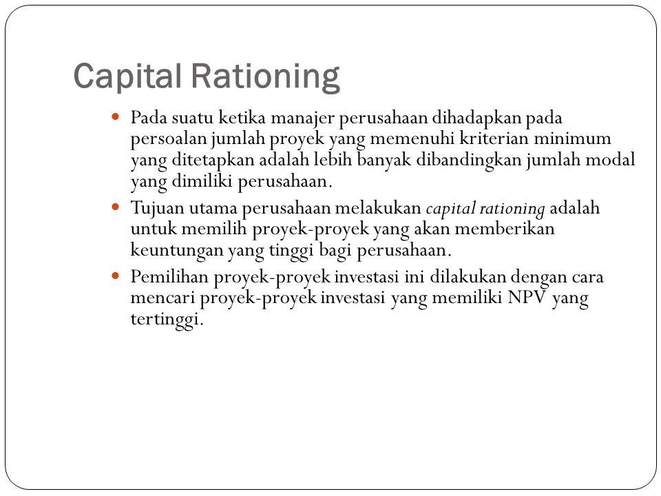 Capital Rationing Pada suatu ketika manajer perusahaan dihadapkan pada persoalan jumlah proyek yang memenuhi kriterian minimum yang ditetapkan adalah