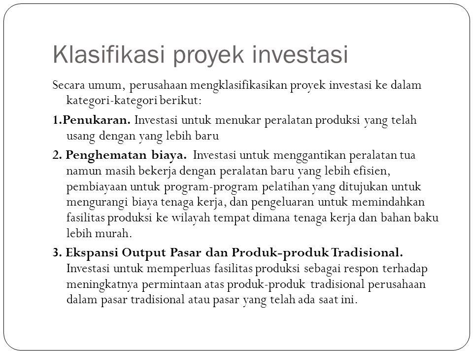 Klasifikasi proyek investasi Secara umum, perusahaan mengklasifikasikan proyek investasi ke dalam kategori-kategori berikut: 1.Penukaran. Investasi un