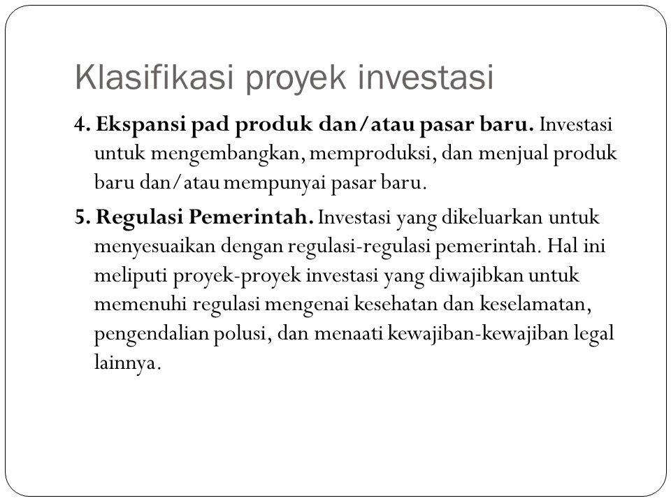 Klasifikasi proyek investasi 4. Ekspansi pad produk dan/atau pasar baru. Investasi untuk mengembangkan, memproduksi, dan menjual produk baru dan/atau