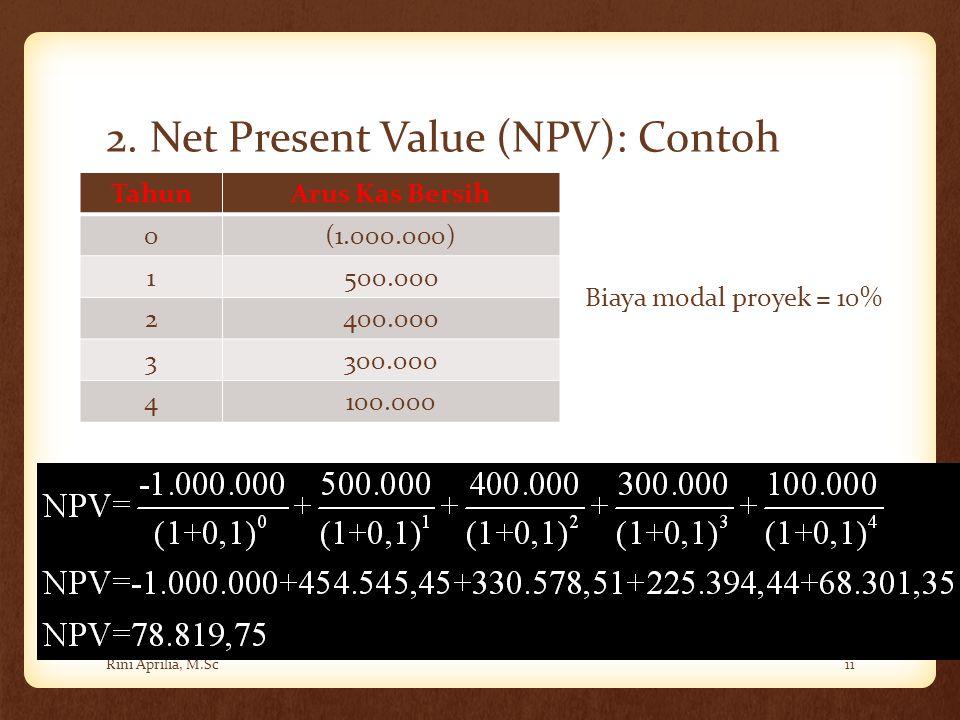 2. Net Present Value (NPV): Contoh Rini Aprilia, M.Sc11 TahunArus Kas Bersih 0(1.000.000) 1500.000 2400.000 3300.000 4100.000 Biaya modal proyek = 10%
