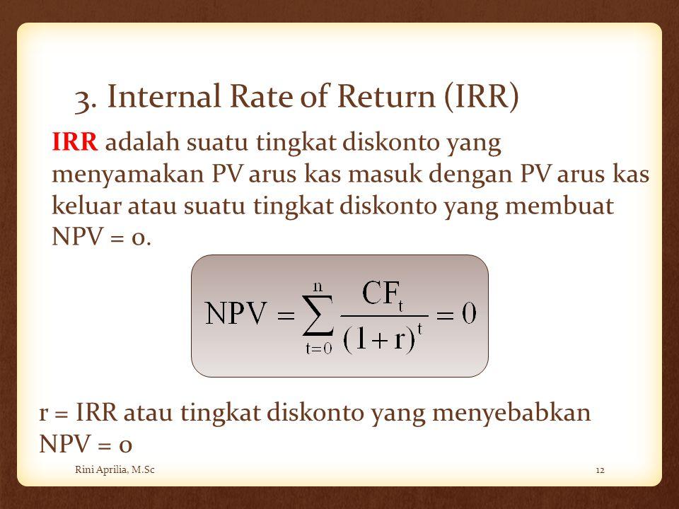 3. Internal Rate of Return (IRR) Rini Aprilia, M.Sc12 IRR adalah suatu tingkat diskonto yang menyamakan PV arus kas masuk dengan PV arus kas keluar at