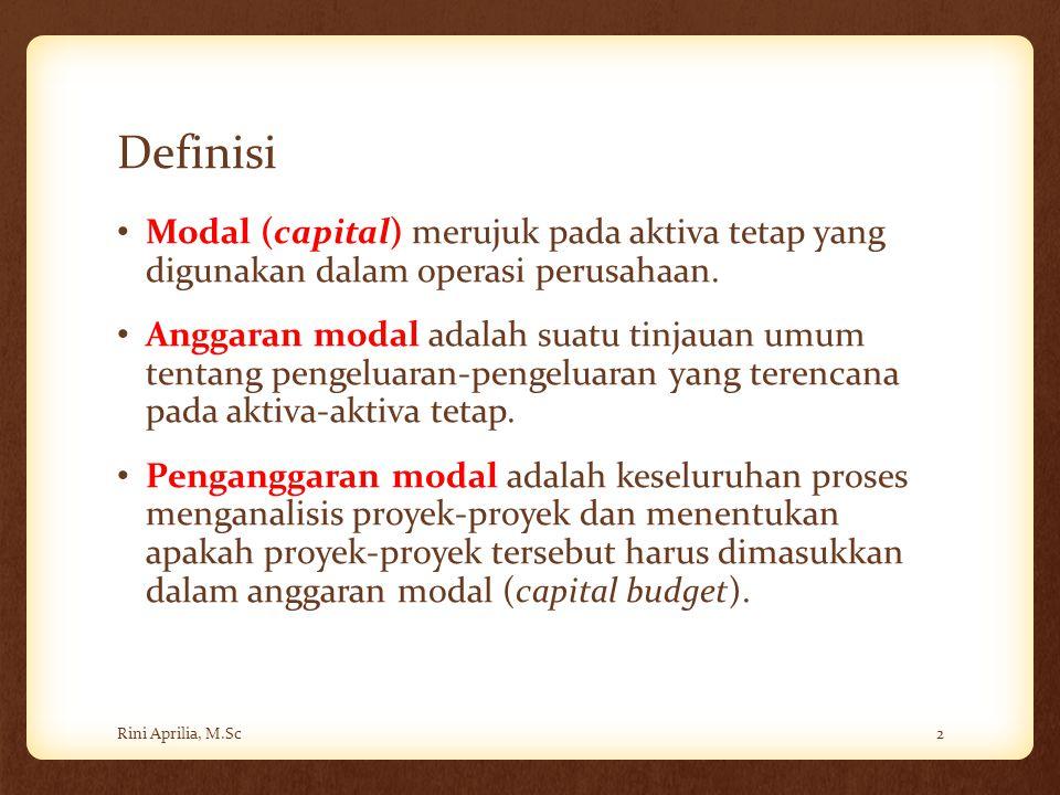 Definisi Modal (capital) merujuk pada aktiva tetap yang digunakan dalam operasi perusahaan. Anggaran modal adalah suatu tinjauan umum tentang pengelua