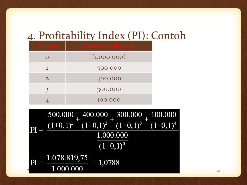 4. Profitability Index (PI): Contoh Rini Aprilia, M.Sc21 TahunArus Kas Bersih 0(1.000.000) 1500.000 2400.000 3300.000 4100.000