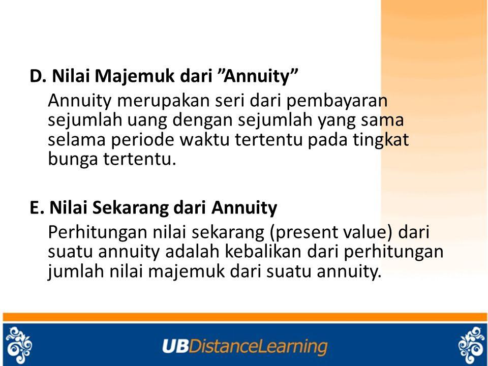 """D. Nilai Majemuk dari """"Annuity"""" Annuity merupakan seri dari pembayaran sejumlah uang dengan sejumlah yang sama selama periode waktu tertentu pada ting"""