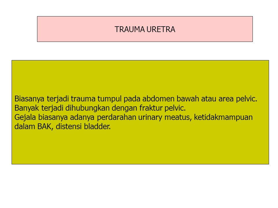 TRAUMA URETRA Biasanya terjadi trauma tumpul pada abdomen bawah atau area pelvic. Banyak terjadi dihubungkan dengan fraktur pelvic. Gejala biasanya ad