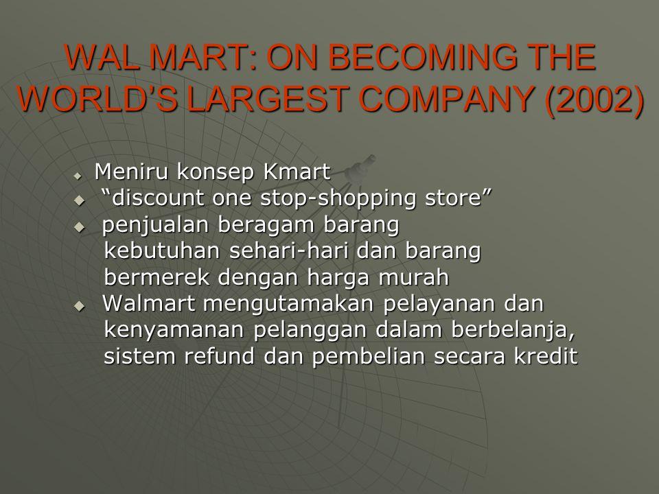 WAL MART: ON BECOMING THE WORLD'S LARGEST COMPANY (2002)  Meniru konsep Kmart  discount one stop-shopping store  penjualan beragam barang kebutuhan sehari-hari dan barang kebutuhan sehari-hari dan barang bermerek dengan harga murah bermerek dengan harga murah  Walmart mengutamakan pelayanan dan kenyamanan pelanggan dalam berbelanja, kenyamanan pelanggan dalam berbelanja, sistem refund dan pembelian secara kredit sistem refund dan pembelian secara kredit