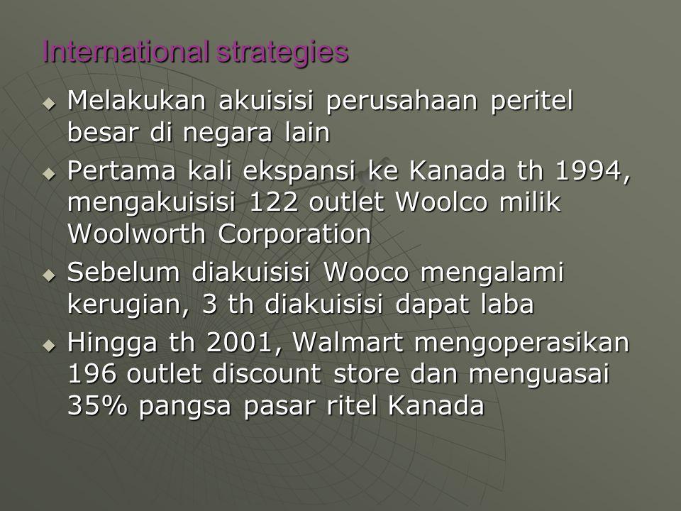 International strategies  Melakukan akuisisi perusahaan peritel besar di negara lain  Pertama kali ekspansi ke Kanada th 1994, mengakuisisi 122 outl