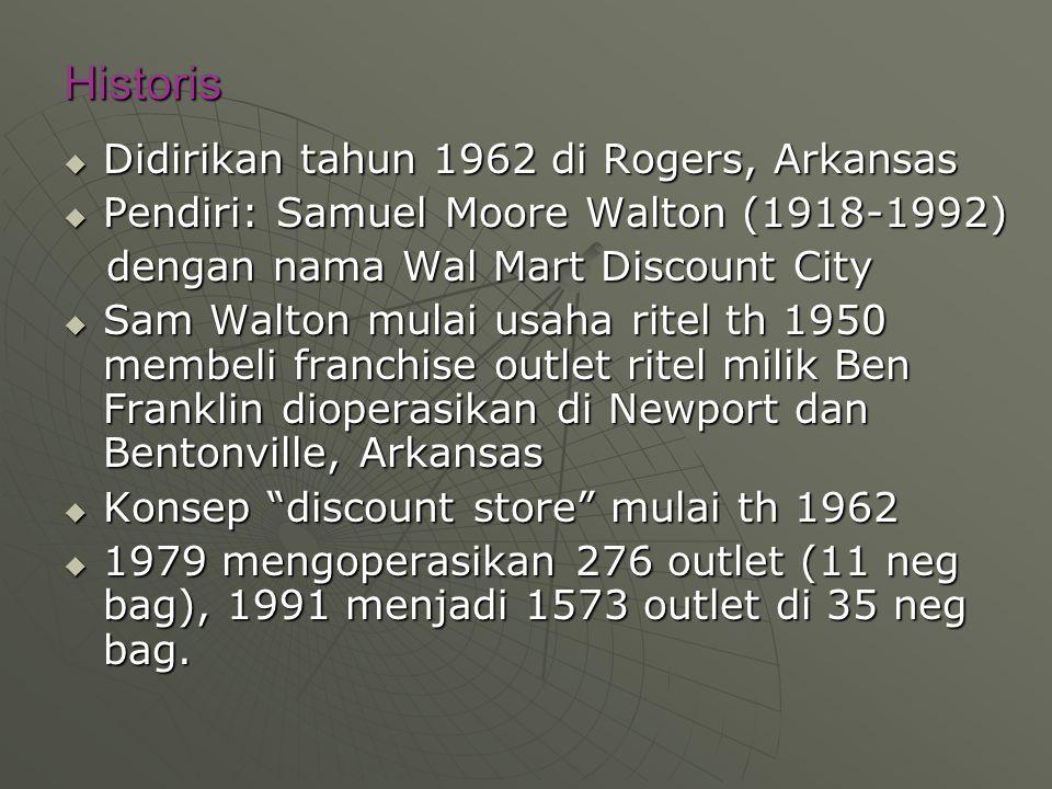 Historis  Didirikan tahun 1962 di Rogers, Arkansas  Pendiri: Samuel Moore Walton (1918-1992) dengan nama Wal Mart Discount City dengan nama Wal Mart Discount City  Sam Walton mulai usaha ritel th 1950 membeli franchise outlet ritel milik Ben Franklin dioperasikan di Newport dan Bentonville, Arkansas  Konsep discount store mulai th 1962  1979 mengoperasikan 276 outlet (11 neg bag), 1991 menjadi 1573 outlet di 35 neg bag.