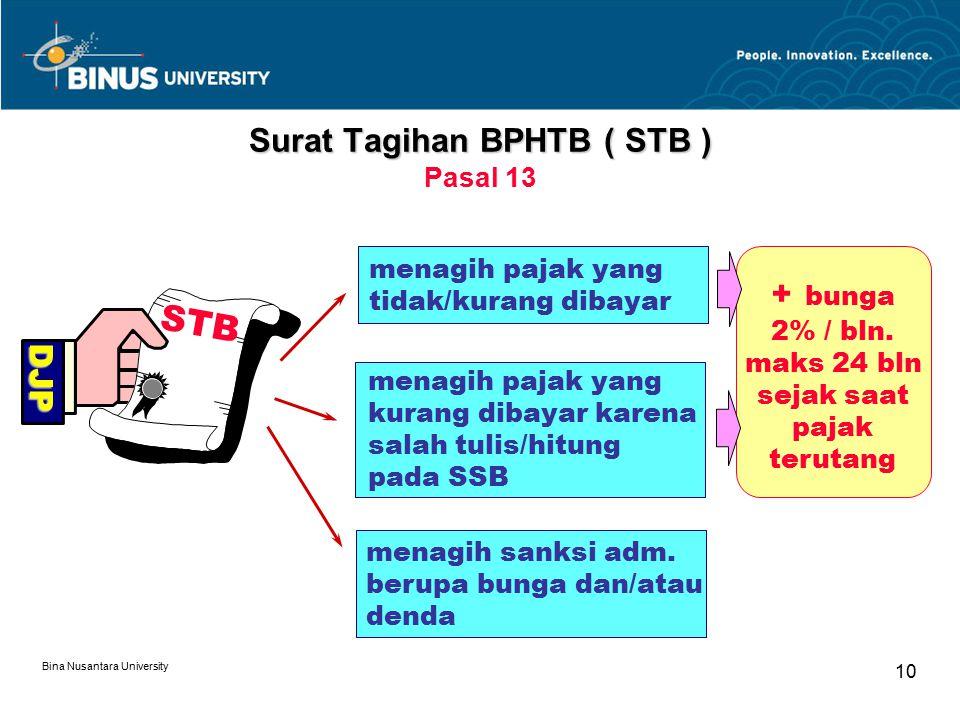 Bina Nusantara University 10 menagih sanksi adm. berupa bunga dan/atau denda Surat Tagihan BPHTB ( STB ) Surat Tagihan BPHTB ( STB ) Pasal 13 STB DJP