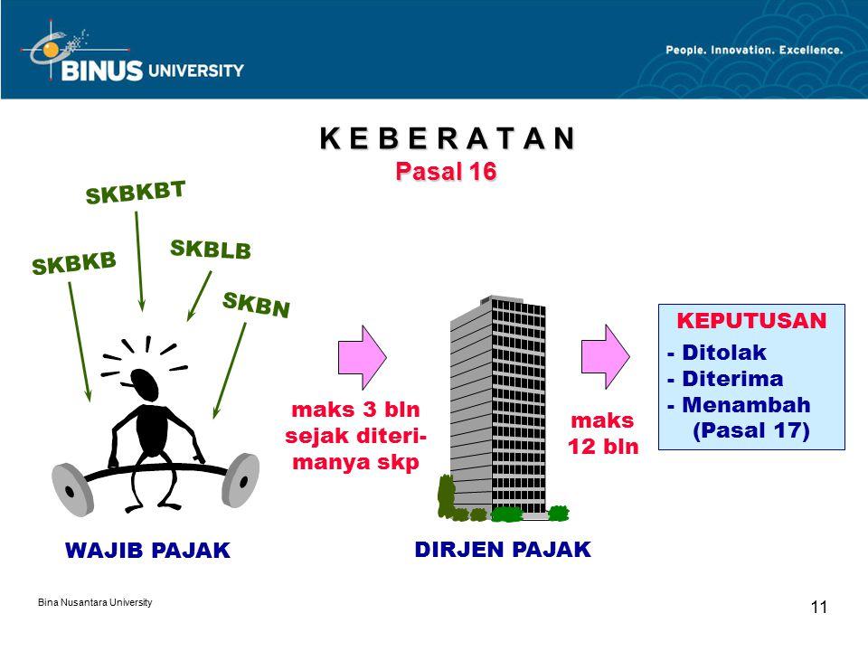 Bina Nusantara University 11 K E B E R A T A N Pasal 16 WAJIB PAJAK SKBKB SKBKBT SKBLB SKBN maks 3 bln sejak diteri- manya skp DIRJEN PAJAK maks 12 bl
