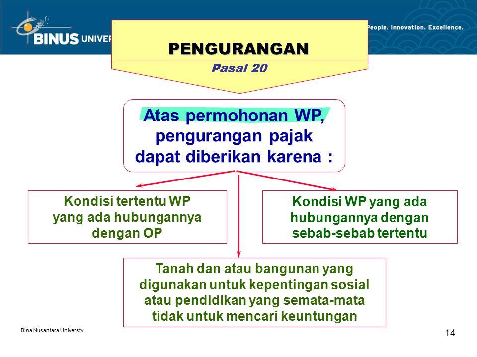 Bina Nusantara University 14 Atas permohonan WP, pengurangan pajak dapat diberikan karena : Kondisi WP yang ada hubungannya dengan sebab-sebab tertent