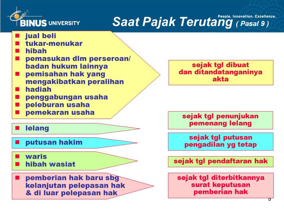 Bina Nusantara University 5 Saat Pajak Terutang ( Pasal 9 ) jual beli tukar-menukar hibah pemasukan dlm perseroan/ badan hukum lainnya pemisahan hak y