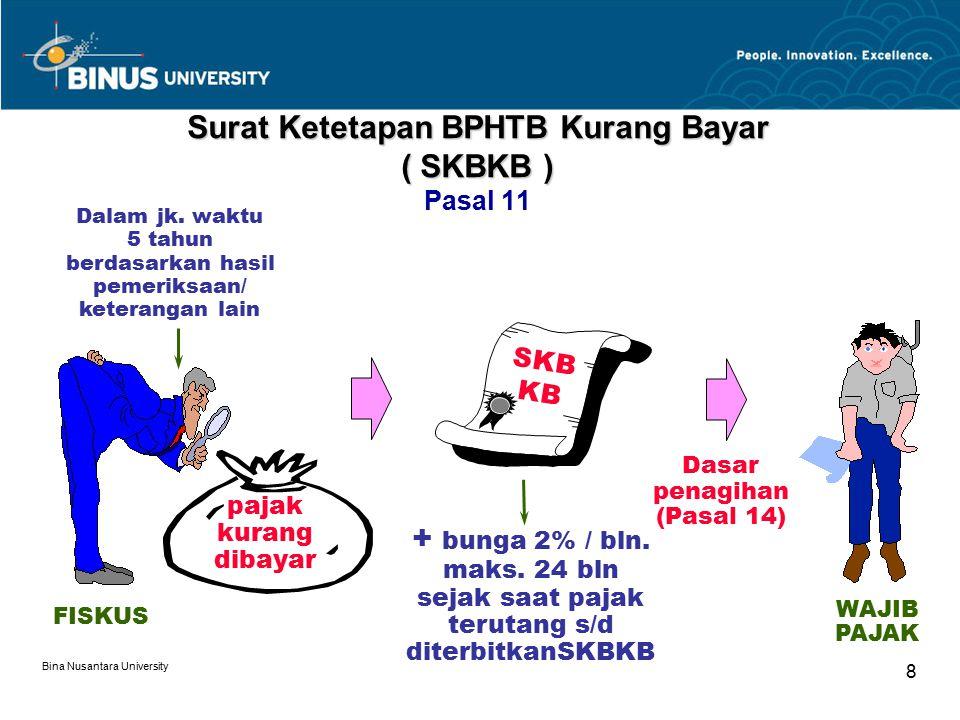 Bina Nusantara University 8 Surat Ketetapan BPHTB Kurang Bayar ( SKBKB ) Surat Ketetapan BPHTB Kurang Bayar ( SKBKB ) Pasal 11 Dalam jk. waktu 5 tahun