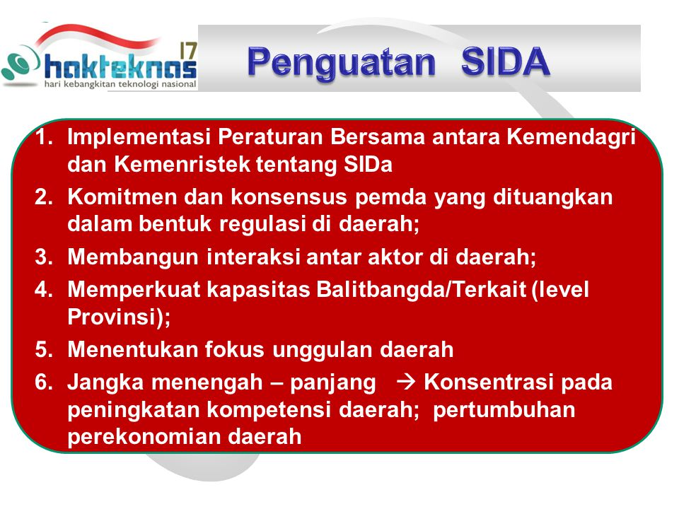 1.Implementasi Peraturan Bersama antara Kemendagri dan Kemenristek tentang SIDa 2.