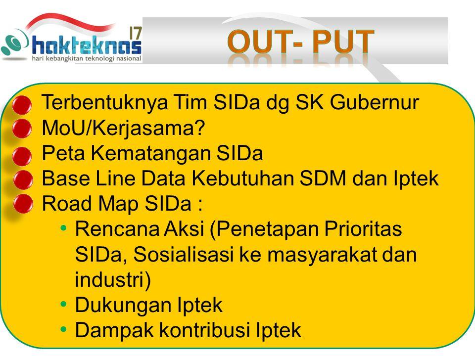Terbentuknya Tim SIDa dg SK Gubernur MoU/Kerjasama.