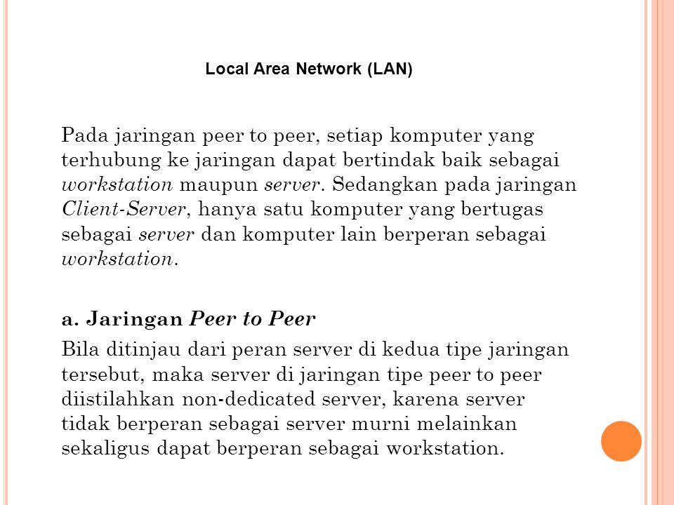 Local Area Network (LAN) Pada jaringan peer to peer, setiap komputer yang terhubung ke jaringan dapat bertindak baik sebagai workstation maupun server.