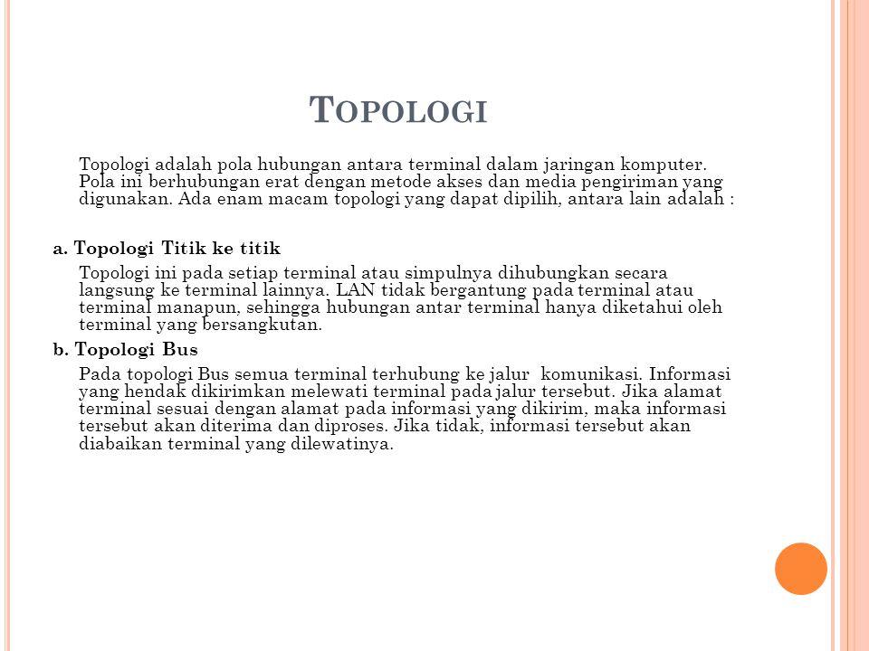 T OPOLOGI Topologi adalah pola hubungan antara terminal dalam jaringan komputer.