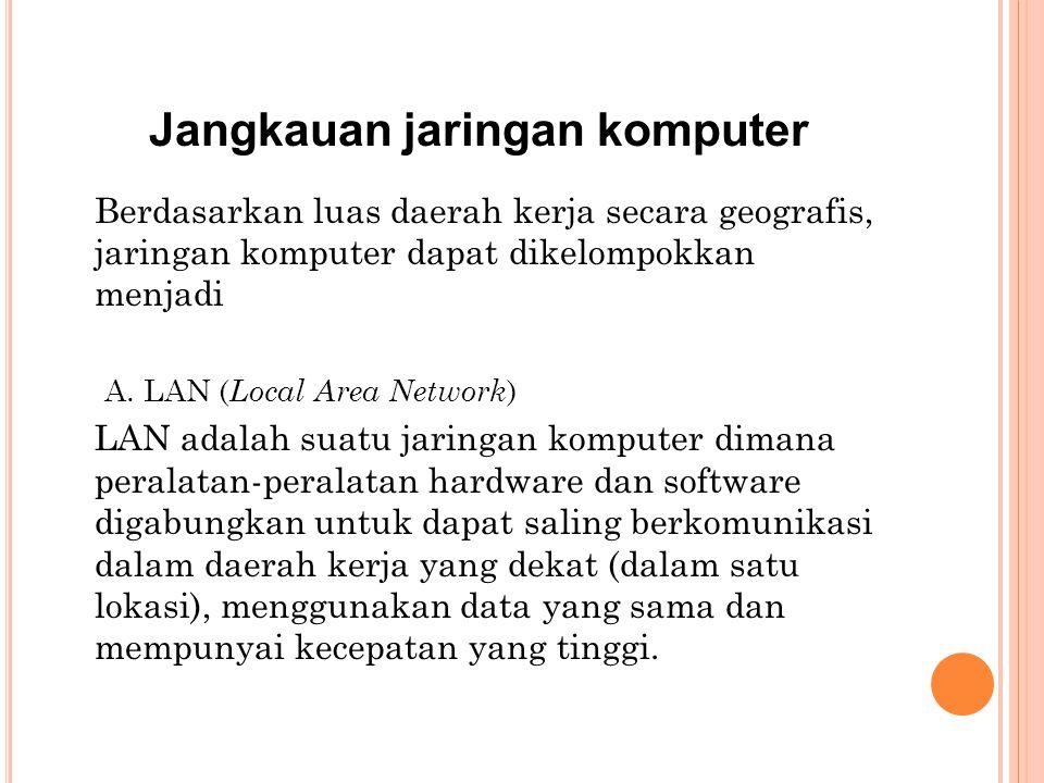 Jangkauan jaringan komputer Berdasarkan luas daerah kerja secara geografis, jaringan komputer dapat dikelompokkan menjadi A.