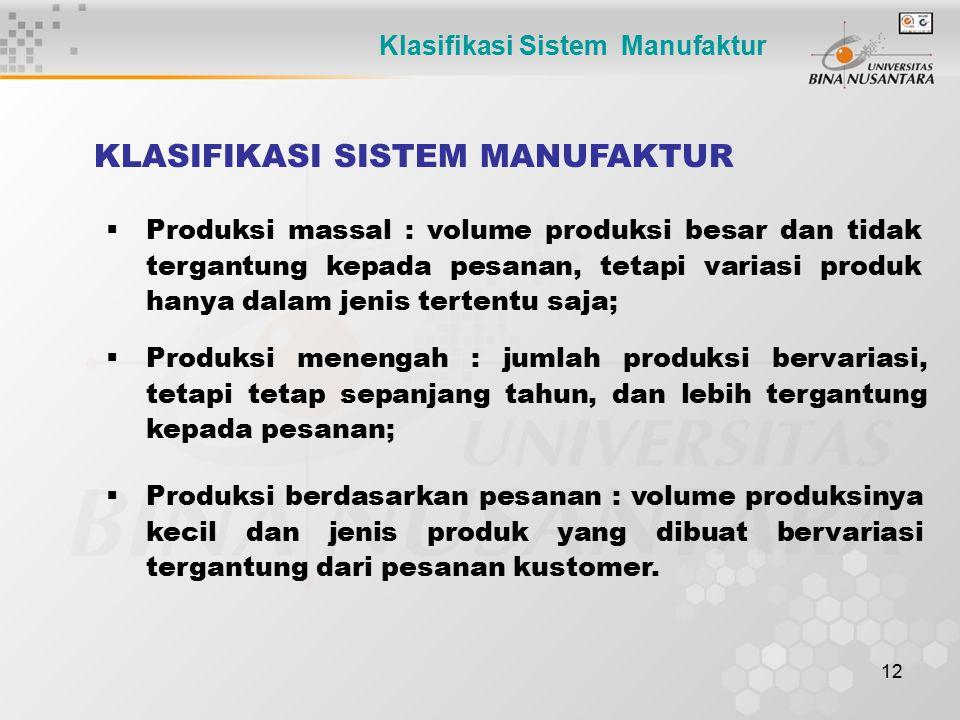 12 KLASIFIKASI SISTEM MANUFAKTUR  Produksi massal : volume produksi besar dan tidak tergantung kepada pesanan, tetapi variasi produk hanya dalam jeni