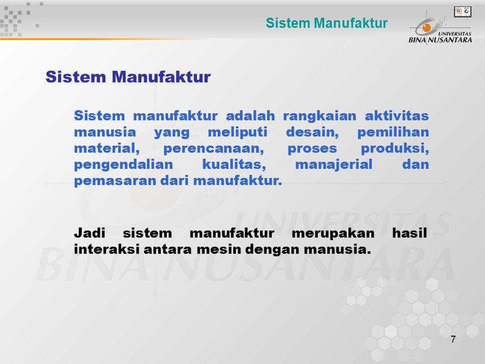 7 Sistem Manufaktur Sistem manufaktur adalah rangkaian aktivitas manusia yang meliputi desain, pemilihan material, perencanaan, proses produksi, penge