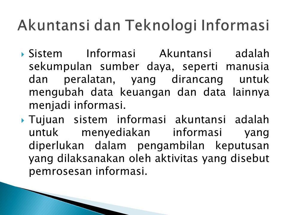  Sistem Informasi Akuntansi adalah sekumpulan sumber daya, seperti manusia dan peralatan, yang dirancang untuk mengubah data keuangan dan data lainny