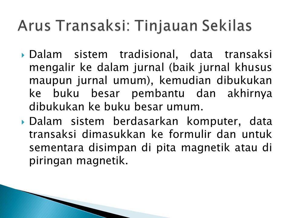  Dalam sistem tradisional, data transaksi mengalir ke dalam jurnal (baik jurnal khusus maupun jurnal umum), kemudian dibukukan ke buku besar pembantu